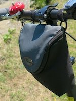 Lowepro bag attached to handlebar